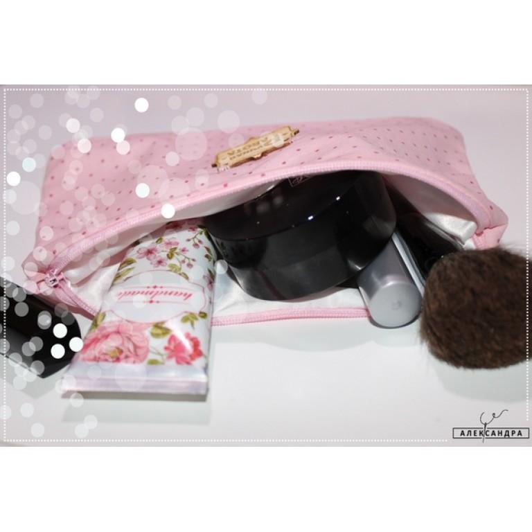 """Косметичка и маска для сна """"Розовый горошек"""""""